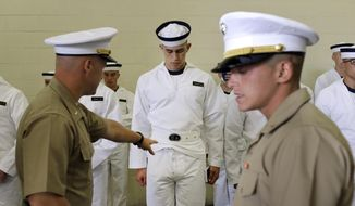"A U.S. Marine Corps second lieutenant orders a prospective plebe to fix his uniform during Induction Day at the U.S. Naval Academy, Wednesday, July 1, 2015, in Annapolis, Md. More than 1,100 young men and women reported for ""I-Day,"" where they received haircuts, medical examinations, new uniforms and instructions on how to salute and address superiors before taking an oath of office to become members of academy's newest class. (AP Photo/Patrick Semansky) ** FILE **"