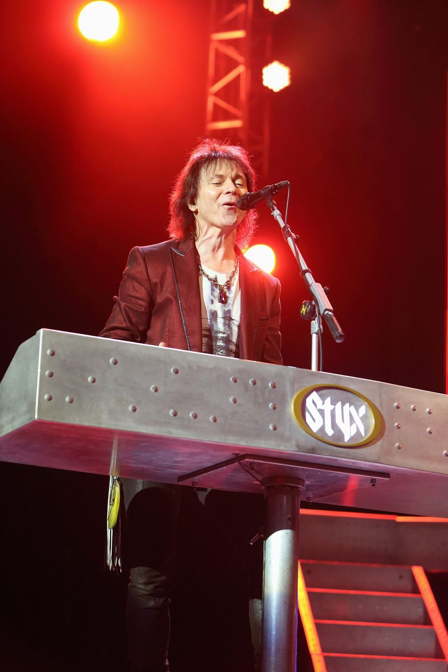 Lawrence Gowan, singer of Styx, said the spinning keyboard on the pole still makes him dizzy.