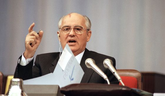 Soviet President Mikhail Gorbachev comments before the Congress of People's Deputies during debate on his proposal to transform the Soviet Union into a confederation of sovereign states in Moscow on Wednesday, Sept. 4, 1991. Officials also said that Gorbachev has agreed to independence for the Baltic republics and will issue a formal decree making them the first republics to win such recognition from the Soviet Union. (AP Photo/Alexander Zemlianichenko)