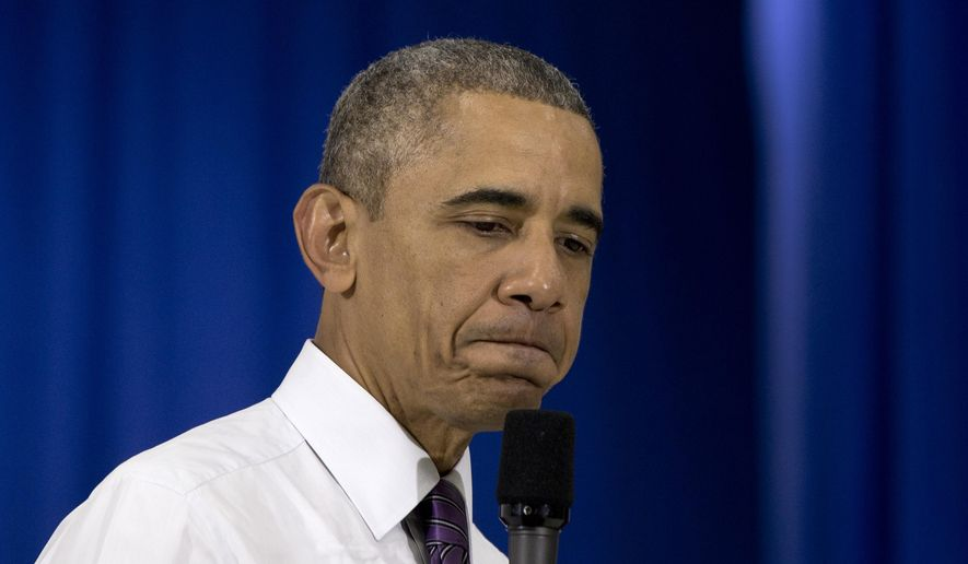 President Barack Obama pauses speaks at Taylor Stratton Elementary School in Nashville, Tenn., Wednesday, July 1, 2015, about the Affordable Care Act. (AP Photo/Carolyn Kaster) ** FILE **