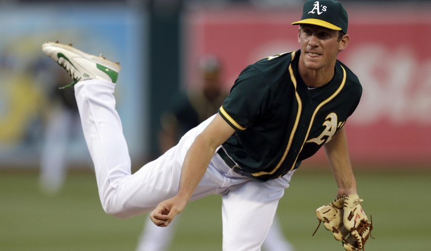 Oakland Athletics' Chris Bassitt watches a delivery to the Colorado Rockies during the first inning of a baseball game Tuesday, June 30, 2015, in Oakland, Calif. (AP Photo/Ben Margot)