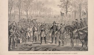 This image provided buy the Library of Congress shows an artists rendering of the surrender of Confederate General Robert E. Lee to Union General Ulysses S. Grant at Appomattox Court House on April 9, 1865. (Associated Press)