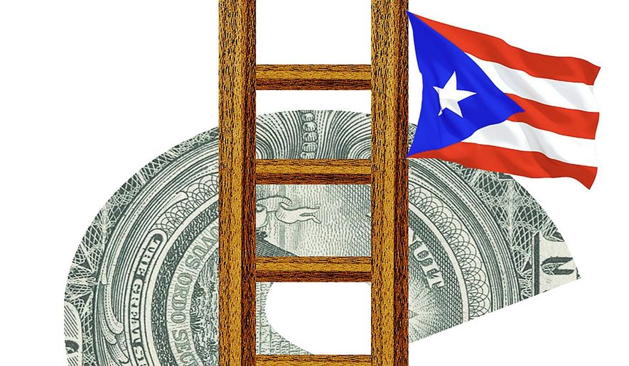Illustration on raising the minimum wage in light of its effect on Puerto Rico by Alexander Hunter/The Washington Times