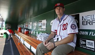 Washington Nationals pitcher Lucas Giolito sits in the dugout before the Nationals' baseball game with the New York Mets on Tuesday, July 17, 2012, in Washington. Giolito was the team's top pick in this year's draft. (AP Photo/Alex Brandon)