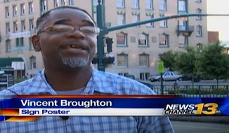 Vincent Broughton, 44, admitted to posting dozens of racist and threatening signs in downtown Colorado Springs, including outside a predominantly black church. (KRDO)
