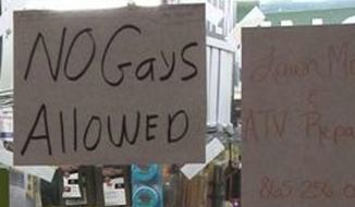 "Amyx Hardware & Roofing Supplies in Grainger County, Tennessee, is making national headlines after posting a ""No Gays Allowed"" sign in the storefront window following the Supreme Court's ruling in favor of same-sex marriage. (WBIR)"