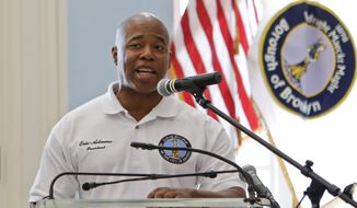 Brooklyn Borough President Eric Adams speaks during a news conference to promote the upcoming Nathan's Famous Fourth of July Hot-Dog Eating Contest, Friday, July 3, 2015, at Brooklyn Borough Hall in New York.  (AP Photo/Frank Franklin II)