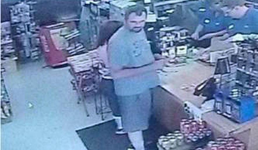 This undated surveillance video image dated June 23, 2015, and provided by the U.S. Marshals Service shows wanted sex offender Benjamin Shook, who is believed to be with Hayleigh Wilson, a 14-year-old girl from Surgoinsville, Tenn. Witnesses reported seeing Wilson with Shook on June 24 near a campground in Sugar Grove, Virginia. Marshals believe the girl met Shook online. Marshals in Tennessee also want Shook for failure to register as a sex offender. (U.S. Marshals Service Office of Public Affairs via AP)