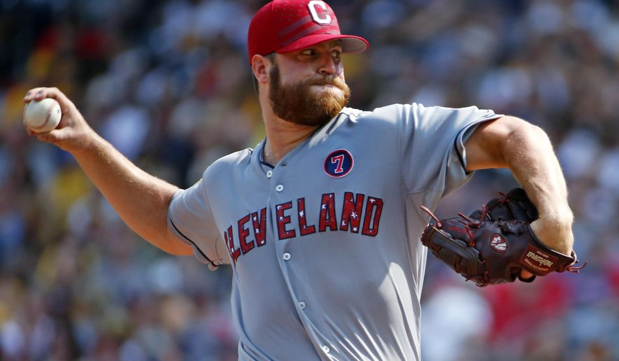 Cleveland Indians starting pitcher Cody Anderson delivers during the first inning of a baseball game against the Pittsburgh Pirates in Pittsburgh on Saturday, July 4, 2015. (AP Photo/Gene J. Puskar)
