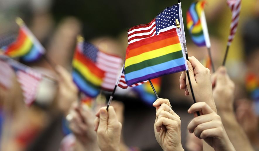 Flags are waved during the National LGBT 50th Anniversary Ceremony, Saturday, July 4, 2015, in front of Independence Hall in Philadelphia.  (AP Photo/Matt Rourke)