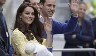 FILE - In this file photo dated Saturday, May 2, 2015,  showing Britain's Prince William and Kate, Duchess of Cambridge with their newborn baby, Princess Charlotte Elizabeth Diana, waving to the public as they leave St. Mary's Hospital in London.  The nine-week old Princess Charlotte, is to be christened at St. Mary Magdalene Church in Sandringham, on Queen Elizabeth II's country estate on Sunday July 5, 2015. (AP Photo/Tim Ireland, FILE)