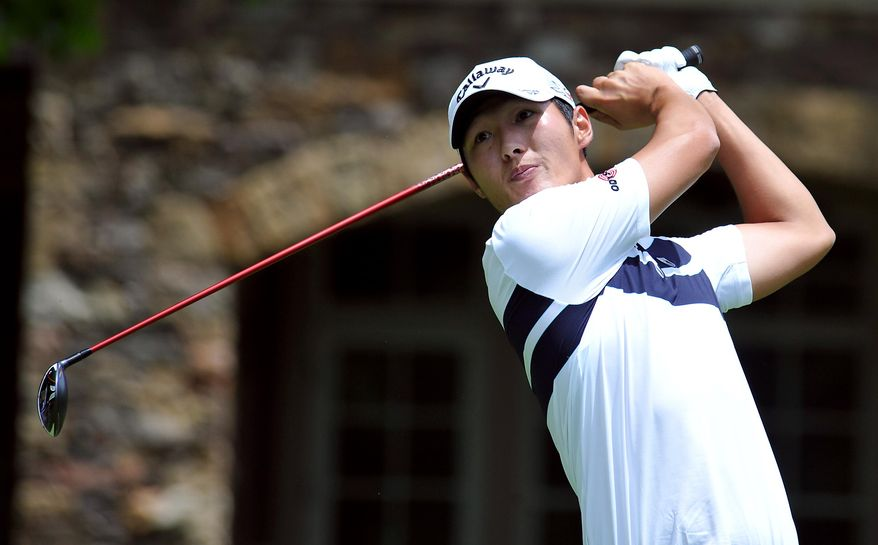Danny Lee tees off on the forth hole during the final round of the Greenbrier Classic golf tournament at Greenbrier Resort in White Sulphur Springs, W.Va., Sunday, July 5, 2015. (AP Photo/Chris Tilley)