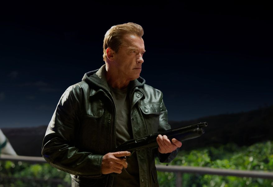 """This photo provided by Paramount Pictures shows, Arnold Schwarzenegger as the Terminator in """"Terminator Genisys,"""" from Paramount Pictures and Skydance Productions. (Melinda Sue Gordon/Paramount Pictures via AP)"""