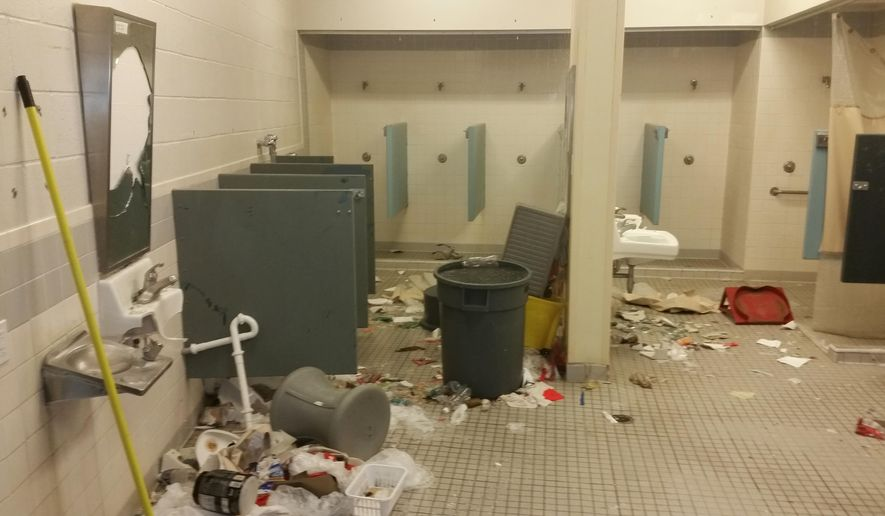 This undated photo provided by the Arizona Department of Corrections, shows damage at the Arizona State Prison-Kingman in Kingman, Ariz. Days of unrest at a privately run prison in Arizona became a nightmare scenario as inmates rioted, trashed housing units and injured guards, prompting the governor to order an investigation Monday, July 6, 2015, into the problem at the facility. (Arizona Department of Corrections via AP)