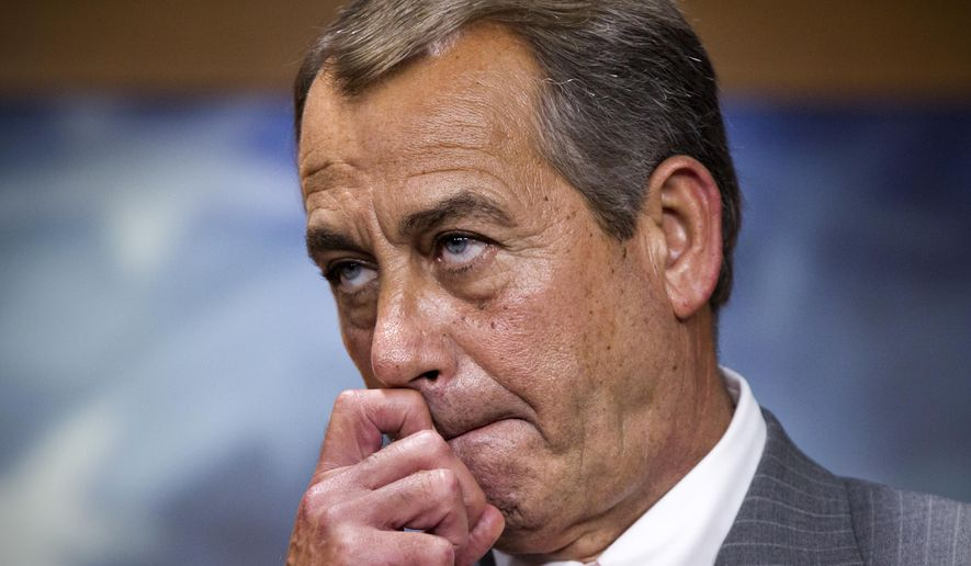 In this June 28, 2015, file photo, House Speaker John Boehner of Ohio meets with reporters on Capitol Hill in Washington, to talk about the Supreme Court ruling on the Affordable Care Act. (AP Photo/J. Scott Applewhite)