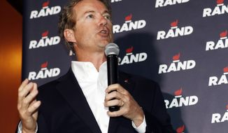 Sen. Rand Paul, Kentucky Republican and presidential hopeful, speaks during a campaign stop at a sports bar in the Cherry Creek area in Denver on June 30, 2015. (Associated Press) **FILE**