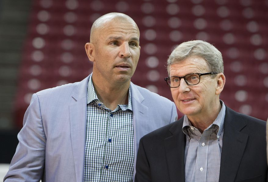 Milwaukee Bucks Coach Jason Kidd, left, and General Manager John Hammond are seen after a press conference  Monday, July 6, 2015, at the University of Wisconsin's  Kohl Center in Madison, Wis. They announced the Bucks will play a preseason game at the UW-Madison's Kohl Center, and hold part of their training camp in Madison. (Steve Apps/Wisconsin State Journal via AP) MANDATORY CREDIT