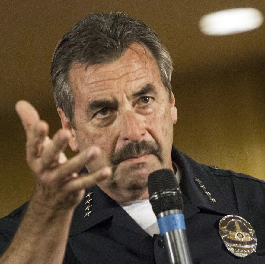 FILE - In this Aug. 19, 2014 file photo, Los Angeles Police Chief Charlie Beck takes a question at the Paradise Baptist Church in Los Angeles during a community forum to discuss the Aug. 11 police shooting of 25-year-old Ezell Ford. A federal judge ruled Monday, July 6, 2015 that Beck must answer questions about the fatal officer-involved shooting of Ford, citing contradictions between the lawman's statements and a commission's finding that the shooting wasn't justified. (AP Photo/Ringo H.W. Chiu, File)