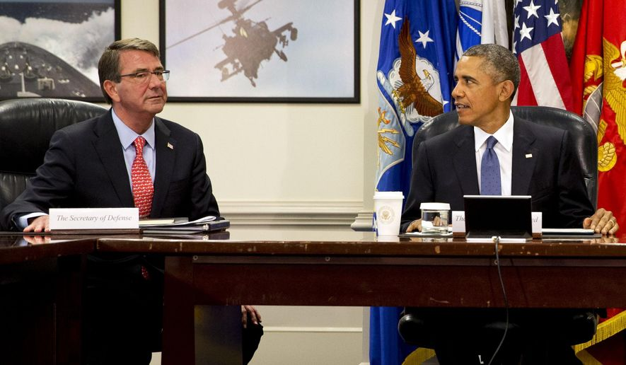 Defense Secretary Ashton Carter met with President Obama before an update on the Islamic State group at the Pentagon on Monday. (AP Photo)