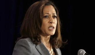 California Attorney General Kamala Harris speaks before the California Chamber Capitol Summit in Sacramento, Calif., May 27, 2015. (AP Photo/Rich Pedroncelli) ** FILE **