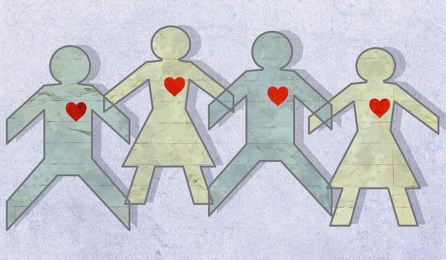 Illustration on core beliefs regarding marriage by Greg Groesch/The Washington Times
