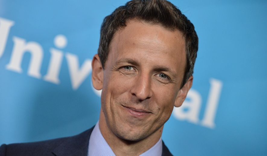 FILE - This July 13, 2014 file photo shows Seth Meyers at the NBC 2014 Summer TCA held at the Beverly Hotel in Beverly Hills, Calif. A presidential campaign is beginning without late-night television hosts who helped us laugh through past ones, both a cultural loss and an opportunity for new voices. Stephen Colbert, Seth Meyers, Larry Wilmore and Kate McKinnon are the most likely comic stars to emerge for Decision 2016. (Photo by Richard Shotwell/Invision/AP, File)