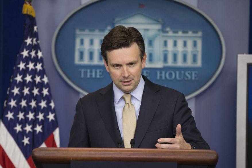 White House press secretary Josh Earnest talks to the media during the daily press briefing on July 6, 2015, in Washington. (Associated Press) **FILE**