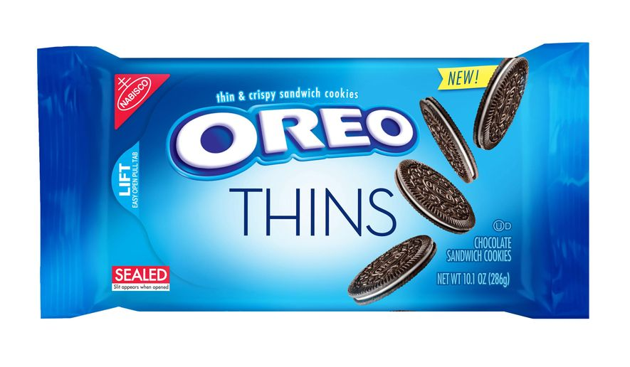 "This product image provided by Mondelez shows the packaging design for ""Oreo Thins."" Mondelez International Inc. says it will add ""Oreo Thins,"" which have a similar cookie-to-filling ratio as regular Oreos, except that they're slimmer, to its permanent lineup in the U.S. starting next week. (Mondelez via AP)"