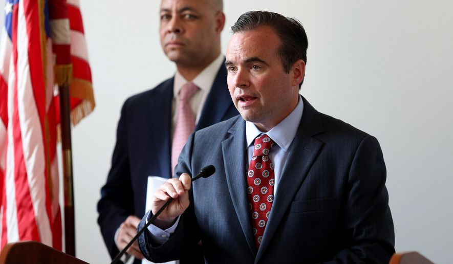 Cincinnati Mayor John Cranley speaks during a news conference about All-Star Game visitors safety in the aftermath of a violent weekend melee Monday, July 6, 2015, in Cincinnati. The conference Monday was held over concerns raised after two police officers were hurt, a civilian was beaten, and several others people were arrested late Saturday. (Cara Owsley/The Cincinnati Enquirer via AP)  MANDATORY CREDIT;  NO SALES