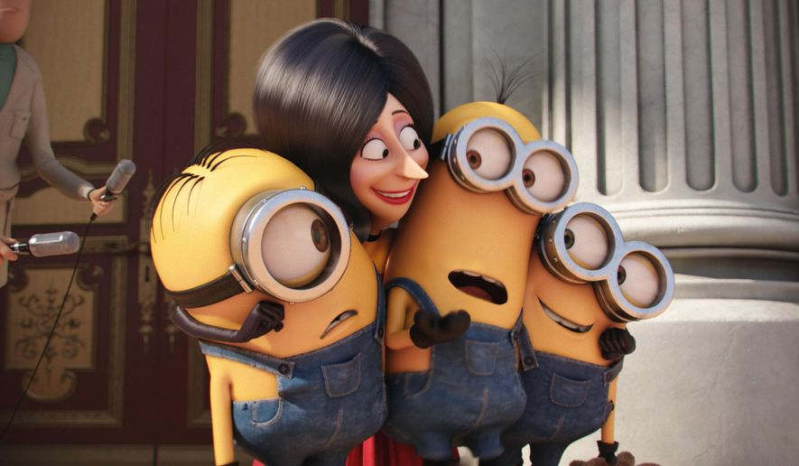 "In this image released by Universal Pictures, Scarlet Overkill, voiced by Sandra Bullock, second left, appears with minions Stuart, left, Kevin and Bob, right, in a scene from the animated feature, ""Minions."" (Illumination Entertainment/Universal Pictures via AP)"