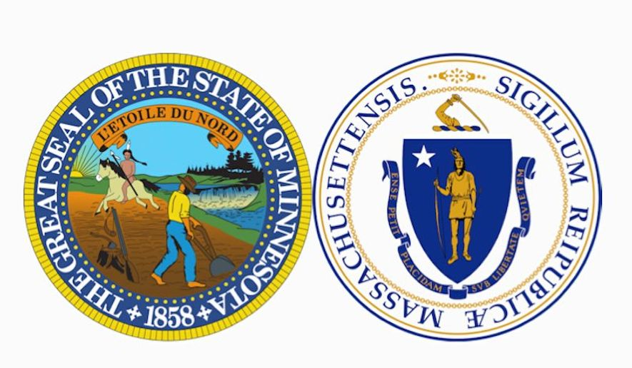 Emblems from the state flags of Minnesota and Massachusetts have come under scrutiny by critics who say they are inappropriate.