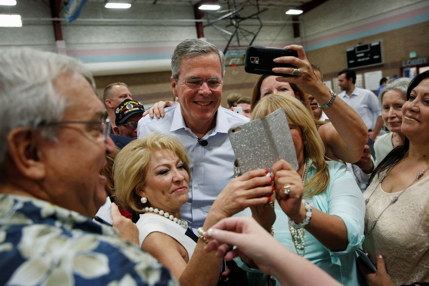 Jeb Bush and fellow establishment candidate Hillary Rodham Clinton are poised to finish the first half of the year with the most donations in a crowded 2016 field. (Associated Press)