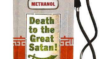 Illustration on Iran's development of methanol in response to U.S. sanctions by Alexander Hunter/The Washington Times