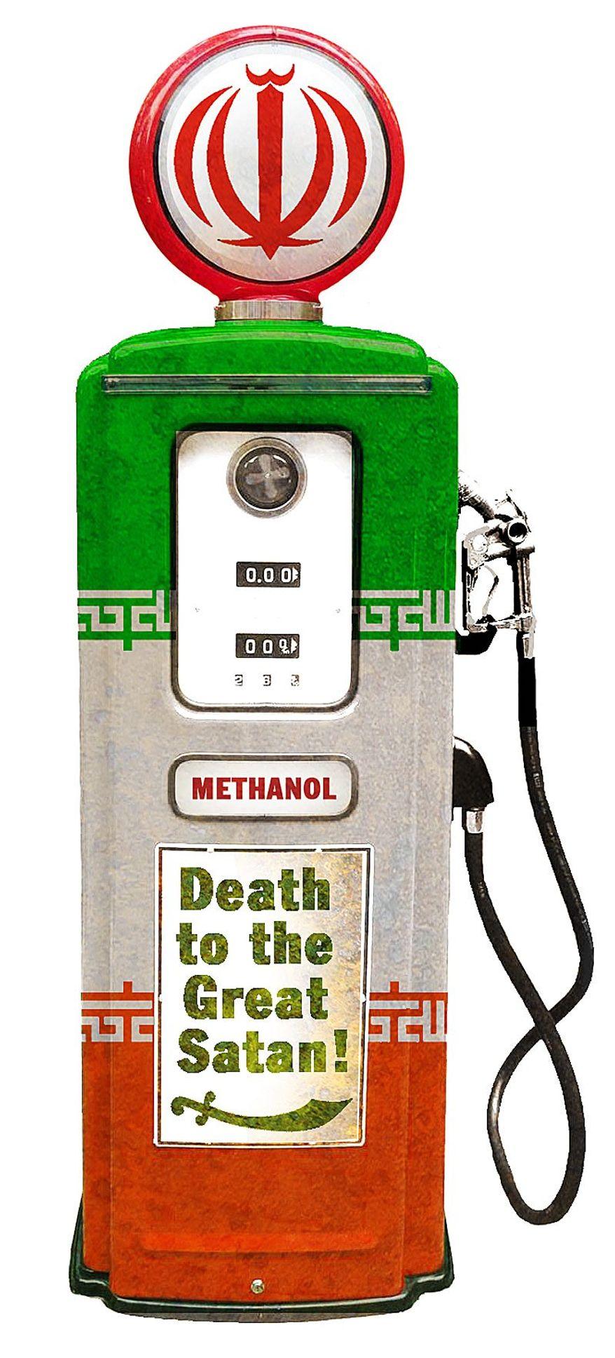 Illustration on Iran's development of methanol in response to U.S. sanctions by Alexander Hunter/The Washington Times