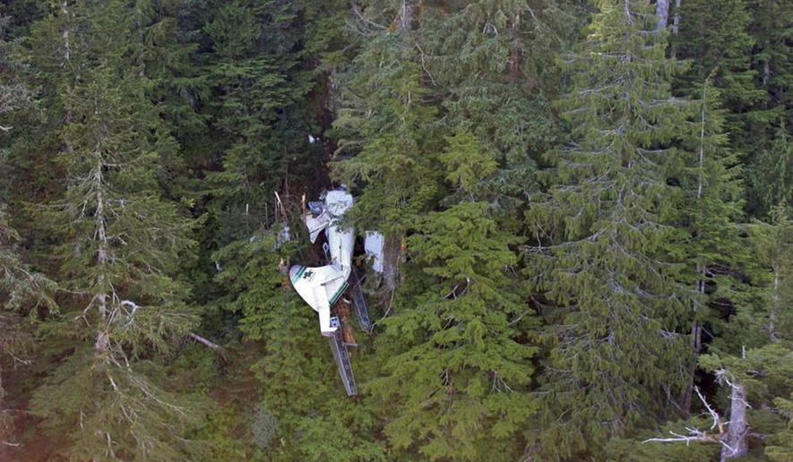 FILE - This file photo, posted Sunday, June 28, 2015, on the Twitter page of the National Transportation Safety Board, shows the wreckage of a sightseeing plane that crashed in remote, mountainous terrain about 25 miles from Ketchikan in southeast Alaska on Thursday, June 25. All nine people on board were killed in the crash. A federal accident report released Tuesday, July 7, 2015, says the sightseeing floatplane was equipped with technology to provide better information about the terrain. (National Transportation Safety Board via AP, File)