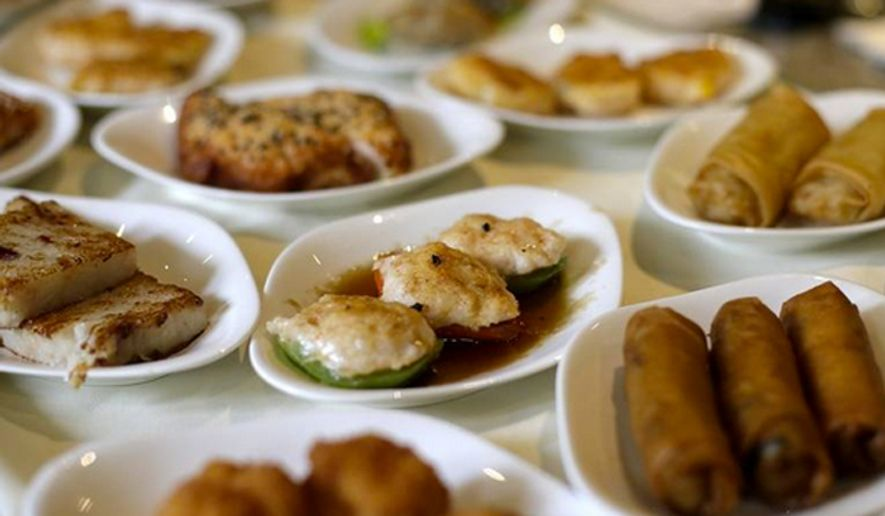 Chinese food displayed on a dim sum food cart (Associated Press) **FILE**