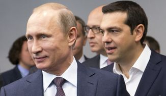 Russian President Vladimir Putin called Greek Prime Minister Alexis Tsipras Monday as the Greek debt crisis deepened. (Associated Press) ** FILE **