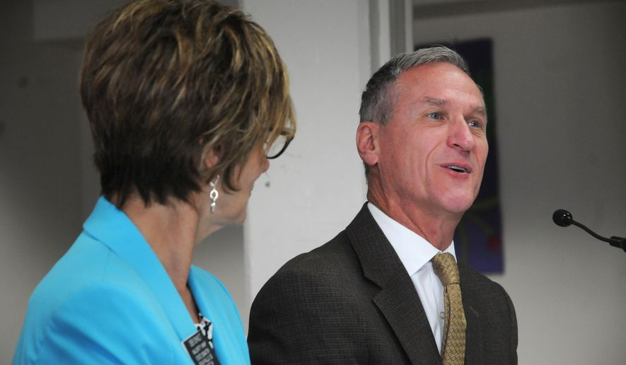 """South Dakota Gov. Dennis Daugaard told a key state education task force on Tuesday, July 7, 2015, at the state Capitol in Pierre, South Dakota, that """"everything is on the table"""" when it comes to potential policies for overhauling the state's education funding system. The state's Blue Ribbon Task Force on Teachers and Students is meeting to discuss problems in South Dakota's education system. (AP Photo/James Nord)"""