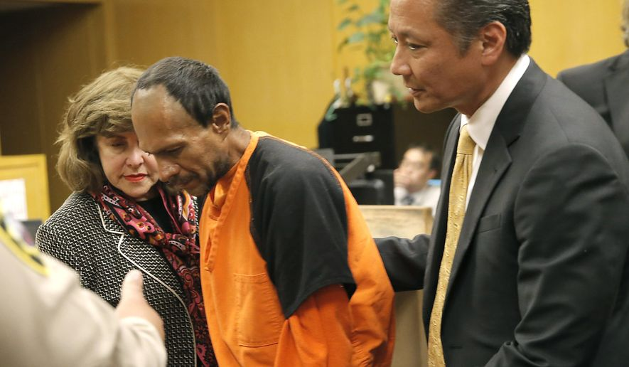 Francisco Sanchez, center, is lead out of the courtroom by San Francisco Public Defender Jeff Adachi, right, and Assistant District Attorney Diana Garciaor, left, after his arraignment at the Hall of Justice on Tuesday, July 7, 2015,  in San Francisco. Prosecutors have charged the Mexican immigrant with murder in the waterfront shooting death of 32-year-old Kathryn Steinle.  (Michael Macor/San Francisco Chronicle via AP, Pool)