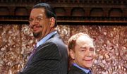 "Penn Jillette, left, and Teller appear at the ""Penn & Teller On Broadway"" preview performance in New York, June 26, 2015. (Photo by Andy Kropa/Invision/AP) ** FILE **"