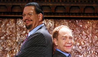 """Penn Jillette, left, and Teller appear at the """"Penn & Teller On Broadway"""" preview performance in New York, June 26, 2015. (Photo by Andy Kropa/Invision/AP) ** FILE **"""