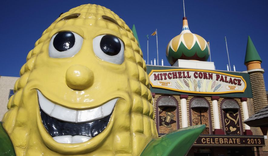 FILE - This June 10, 2013 file photo shows the Corn Palace in Mitchell, S.D. A legal dispute between city and Steve Koch, who was in line last year to be the next director of the city's tourist attraction, appears headed for trial. Koch in May filed a federal civil rights lawsuit against the city and former Mayor Ken Tracy, maintaining he was forced out as Corn Palace director after being offered the position and accepting it. (AP Photo/Amber Hunt, File)