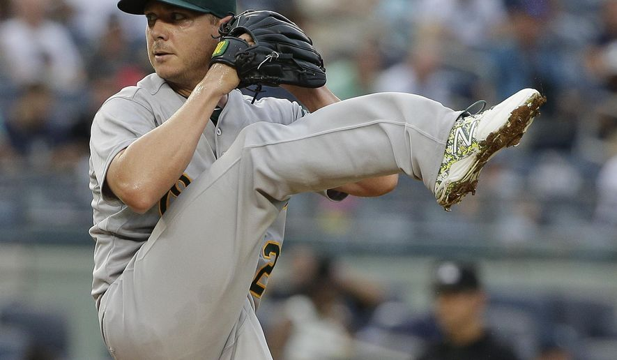Oakland Athletics pitcher Scott Kazmir comes out of his wind up to deliver against the New York Yankees during the first inning of a baseball game, Wednesday, July 8, 2015, in New York. (AP Photo/Julie Jacobson)