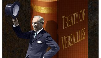 Illustration of Woodrow Wilson and the Treaty of Versailles by Alexander Hunter/The Washington Times