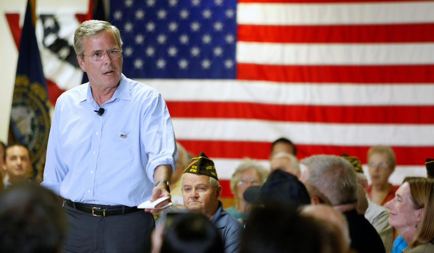 "In response to a voter's question at a New Hampshire forum, Republican presidential candidate Jeb Bush reiterated that ""I honestly think we need to provide a path to legalized status, not citizenship, for illegal immigrants."" Analysts say it is hard to pin down Mr. Bush on the immigration issue. (Associated Press)"