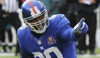 A July 4 fireworks accident has apparently cost defensive lineman Jason Pierre-Paul a finger. (Associated Press)