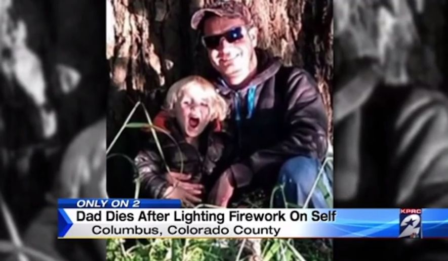 Justin Bartek, a 30-year-old Texas postal worker, died Tuesday after shooting a firework off of his chest, according to Colorado County sheriff's officials. (KPRC)