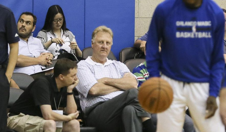 Indiana Pacers president Larry Bird watches the warm up between his Pacers team and the Orlando Magic before the first half of an NBA summer league basketball game in Orlando, Fla., Monday, July 6, 2015. (AP Photo/Willie J. Allen Jr.)
