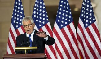 Former Secretary of Defense Chuck Hagel, speaks about his experiences as a soldier fighting in Vietnam, during a ceremony to commemorate the 50th anniversary of the Vietnam War on Capitol Hill in Washington, Wednesday, July 8, 2015. (AP Photo/Manuel Balce Ceneta) ** FILE **