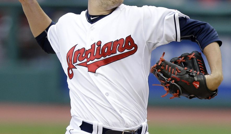 Cleveland Indians starting pitcher Trevor Bauer delivers in the first inning of a baseball game against the Houston Astros, Wednesday, July 8, 2015, in Cleveland. (AP Photo/Tony Dejak)